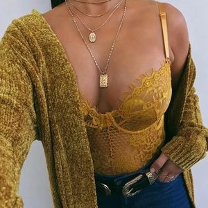 Tops - ♡ Boutique Golden Mustard Lace Bodysuit